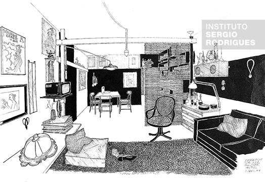 Drawing by Sergio Rodrigues of his apartment at Rua Visconde de Pirajá, in 1956, created for the article titled