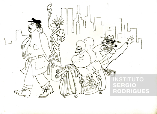 Illustration by Sergio Rodrigues about a trip to New York with Kilin – Character idealized by Sergio to represent his wife Vera Beatriz – and daughter Verônica Rodrigues.