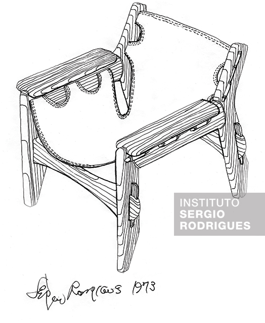 Sketch of the Leve Kilin armchair made out of solid hardwood and leather, black canvas or