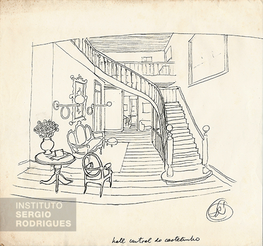Drawing Sergio Rodrigues made from memory representing the skylight hall at Castelinho. at Praia do Flamengo, No. 72 - Rio de Janeiro.