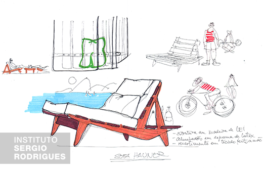 Sketch of the Hauner sofa created by Sergio Rodrigues in 1954.